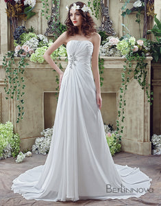 A-line Strapless Pleating Wedding Dress