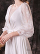A-Line Round Neck Long Sleeves Satin Wedding Dress