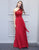 Simple One-Shoulder Bridesmaid Dress Cherry Lace Long Wedding Party Dress