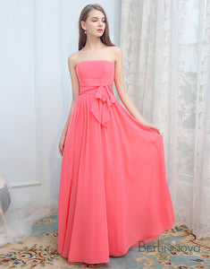 Coral Strapless Chiffon Long Wedding Party Dress