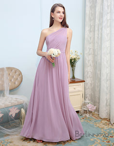 Simple One-Shoulder Bridesmaid Dress Lilac Chiffon Long Wedding Party Dress