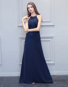 Halter Navy Blue Long Bridesmaid Dress