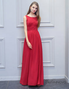 Simple A-Line Bridesmaid Dress Red Chiffon Long Wedding Party Dress