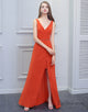 Sleeveless Orange Chiffon Bridesmaid Dress