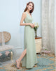 A-Line Deep V-Neck Bridesmaid Dress Mint Chiffon Long Wedding Party Dress