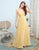 A-Line Princess Bridesmaid Dress Yellow Halter