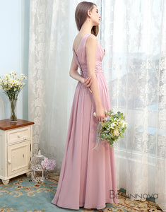 Simple Elegant Deep V-Neck Long Bridesmaid Dress