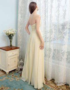 Sweetheart Yellow Chiffon Long Wedding Party Dress