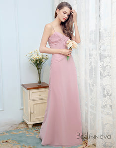 Pink Long Simple Bridesmaid Dress with Ruched