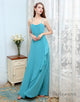Simple Chiffon Bridesmaid Dress Spaghetti Straps Blue Long Wedding Party Dress