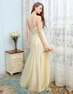 Simple Chiffon Bridesmaid Dress Spaghetti Straps Yellow Long Wedding Party Dress