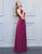 Simple A-Line Bridesmaid Dress Purple Chiffon Long Wedding Party Dress