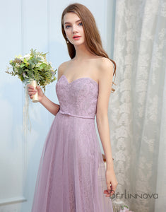 Sweetheart Lilac Lace Long Wedding Party Dress
