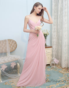 Simple Deep V-Neck Long Wedding Party Dress
