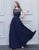 Simple A-Line Bridesmaid Dress Navy Blue Lace Long Wedding Party Dress