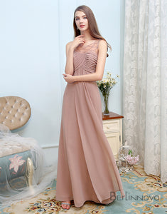 Simple A-Line Bridesmaid Dress Rum Pink Chiffon Long Wedding Party Dress