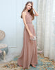Long Rum Pink Chiffon Bridesmaid Dress