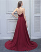 A-Line Halter Floor-Length Sleeveless Burgundy Chiffon Bridesmaid Dress