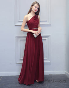Simple One-Shoulder Bridesmaid Dress Burgundy Chiffon Long Wedding Party Dress