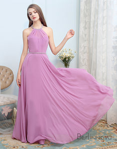 Simple Halter Bridesmaid Dress Open Back Purple Beading Wedding Party Dress