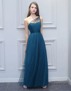One Shoulder Bermuda Blue Long Bridesmaid Dress