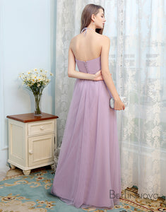 Simple Halter Bridesmaid Dress Open Back Lilac Long Wedding Party Dress
