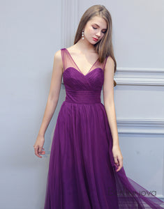 Spring Violet Tulle Bridesmaid Dress