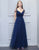 Simple Chiffon Bridesmaid Dress Navy Blue Cap Sleeves Long Wedding Party Dress