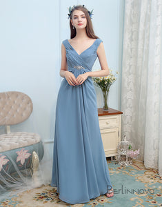 Simple Chiffon Bridesmaid Dress Deep V-Neck Indigo Long Wedding Party Dress