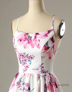 Short A-Line White Printed Open Back Homecoming Party Dress