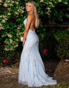 Mermaid Blue Long Prom Dress Backless Evening Dress