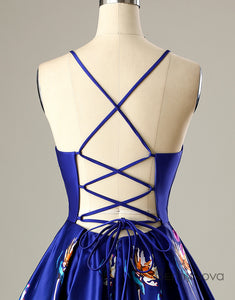 Short Criss-Cross Straps Open Back Homecoming Party Dress