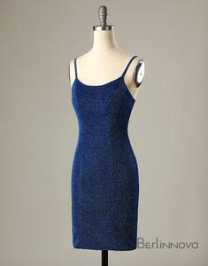 Sheath Short Homecoming Dress Backless Navy Blue Cocktail Dress