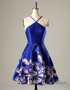 A-Line V-Neck Royal Blue Homecoming Party Dress