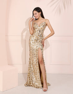 Glitter Mermaid Prom Dress Champagne Long Evening Dress