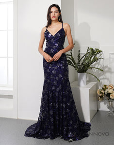 Mermaid Navy Blue Tulle Long Prom Robes de soirée robes de soirée avec Backless