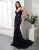 Glitter Mermaid Prom Dress V-Neck Dark Navy Long Evening Dress
