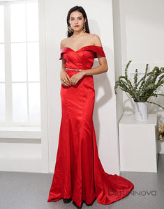 Red Mermaid Prom Dress Off the Shoulder Long Evening Party Dress