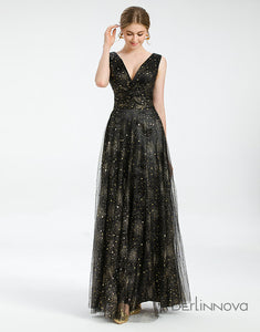 Glitter V-Neck Black Evening Gowns Tulle Long Sexy Formal Dresses