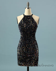 Glitter Sequin Halter Homecoming Dress