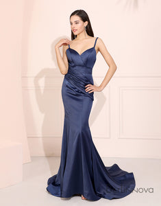 Mermaid Royal Blue Prom Dress V-Neck Long Evening Party Dress