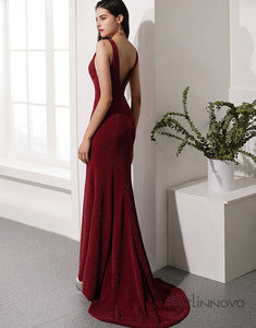 Burgundy Mermaid Prom Dress Deep V-Neck Evening Party Dress