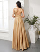Simple Champagne Prom Dress V Neck Split Front Evening Dress