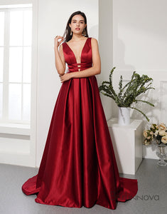 Hot Selling Red Prom Kleider Deep V Neck Abendkleider backless