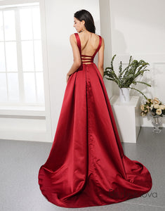 Hot Selling Red Prom Dress Deep V Neck Evening Dress