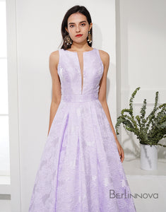 Lavender Prom Dress  Embossing Round Neck Evening Dress