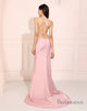 Simple Pink Long Prom Dress Side Split Evening Dress