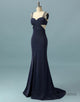 Mermaid Navy Blue Prom Dress V-Neck Long Evening Party Dress