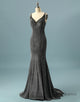 Simple Dark Grey Long Prom Dress V Neck Evening Dress