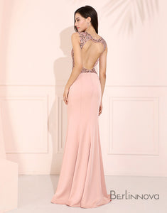 Elegant Pink Prom Dress Open Back Evening Dress